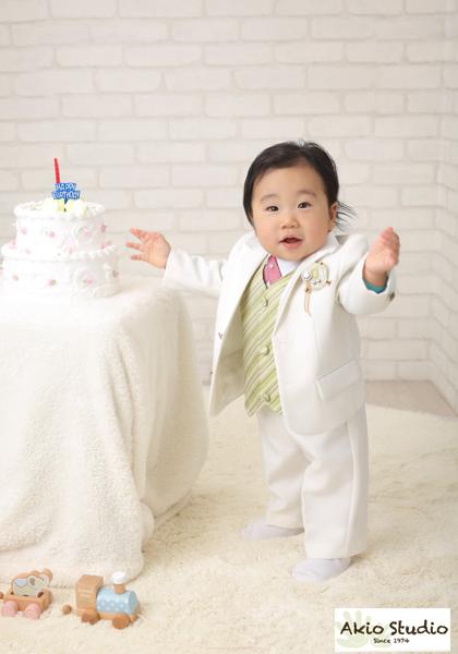 お宮参り ケーキと一緒に 写真