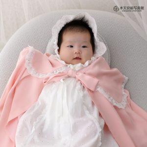 お持込のピンクのケープがかわいい♡お宮参りおめでとうございます!